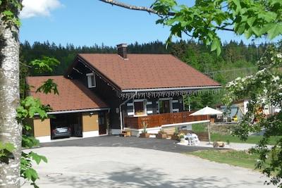 Accès coté ouest : entrée - garage - parking et terrasse au dessous