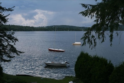 An inviting Caspian Lake from the lawn (sandy beach is down three stone steps)