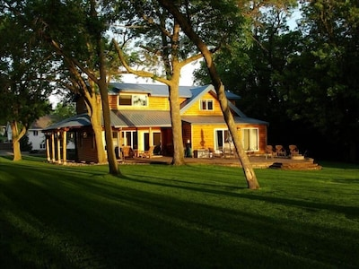 Sunrise lights up the cabin