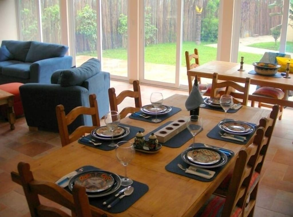 Dining area. Fully furnished with seating and kitchen furnishings for up to 10!