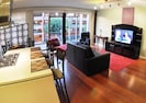 Spacious open loft comfort with large flat screen TV.