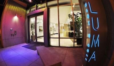 The beautiful LUMA entry at night. LUMA is a LEED-certified Green building.