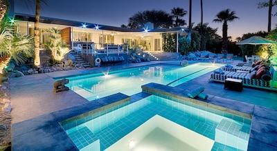 Spa & lap pool at dusk