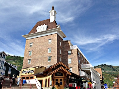 Our building, Silver Mill House, Resort Plaza, ski runs behind