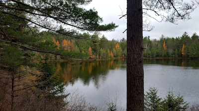 Bass Lake  in the fall. Across the road from Moose Lodge.