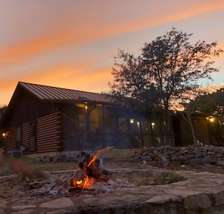 View of the cabin from the fire pit.