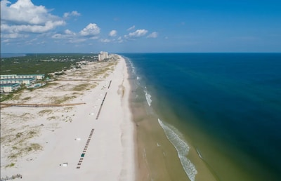 Helicopter view of the beach in front of our condo...very quiet!