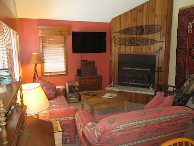 Main level living rom, HDTV and wood burning fireplace, all wood provided.
