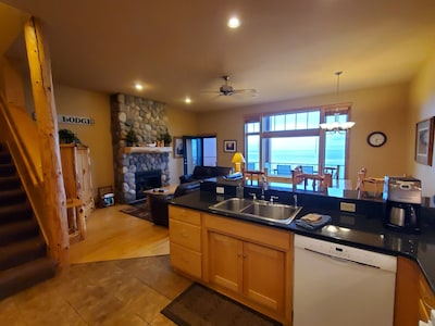 Kitchen/greatroom with perfect view of Lake Superior