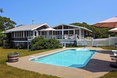 Chilmark Beach House overlooks the Heated Exercise Pool, 4' deep.