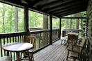 Deck (with propane grill, hot tub, extra dining table, seating etc)