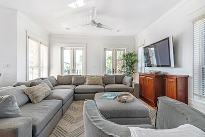 This massive sectional has enough space for the whole group!