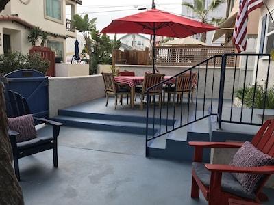 Spacious patio, sunny and shady areas, fully fenced.