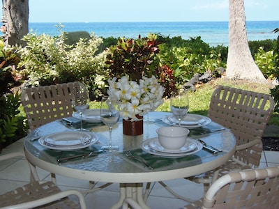 This is your enchanting view from the lanai, just steps from the ocean!