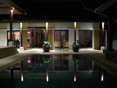 Our private swimming pool at nightime.