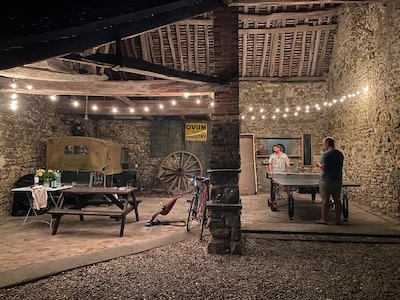 Open barn with bbq