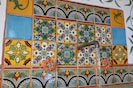 Talavera work in kitchenette and recycled copper pipe faucet