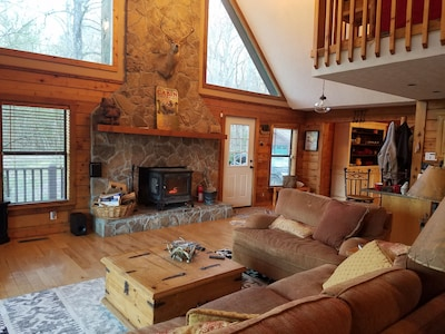 open concept family room with lots of light and room for everyone