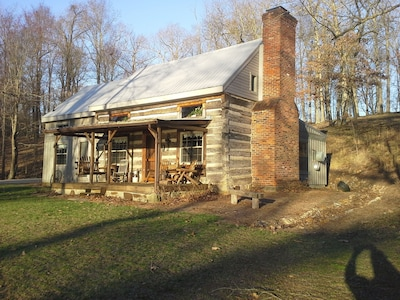 1860's log cabin winter on large private waterfront Ky Lake lot