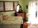"""Green"" Bedroom w/ Double Bed, Antique Walnut Furniture & Tempur-Pedic Mattress"