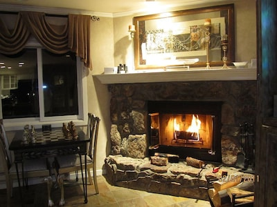 Real wood fireplace!   Wood is stacked in your private garage.