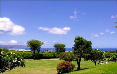Panoramic ocean views from the lanai across the golf course