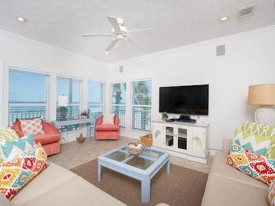 Open Living Room area overlooking the beautiful gulf coast.