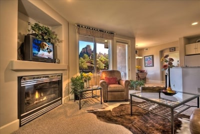Great Room Views with Fireplace and 47 Inch Flatscreen TV