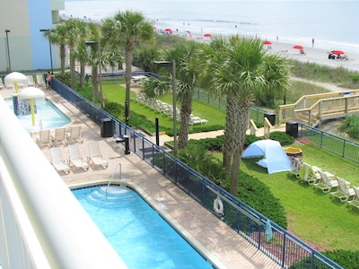 Outdoor pools from our balcony  3rd floor
