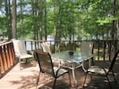 Enjoy meals on the back deck, overlooking the lake.