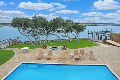 View from deck overlooking pool and Matanzas River.