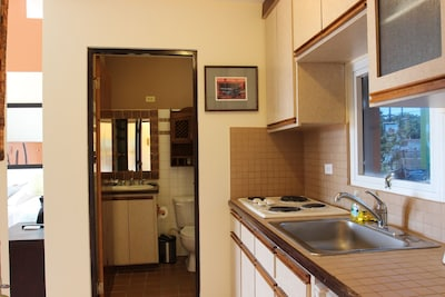 partial kitchen and bathroom view