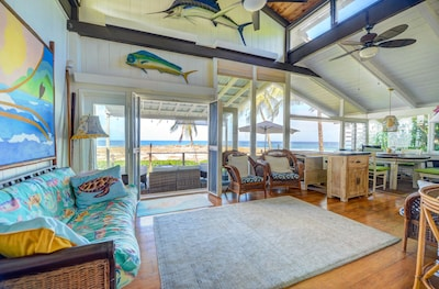 You have views of the water from the living, dining, master, kitchen and deck!