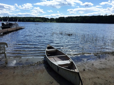 Use the canoe or the paddleboat (provided) for exploring or fishing!