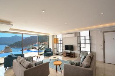 Living Room with Kalamar Bay Views