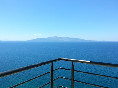 Enjoy the beautiful terrace view towards Korfu