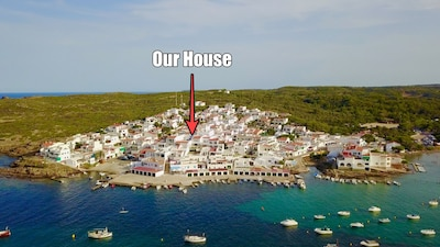 Our house position within the beautiful bay and village of Es Grau.