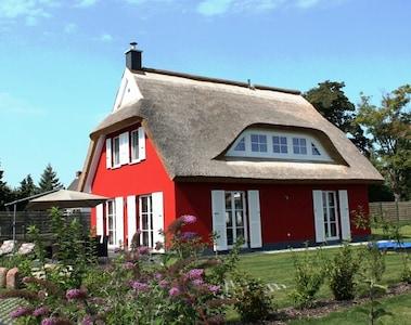 5 Sterne Ferienhaus am Wasser, Reetdach, Terrasse, Kamin, Sauna, WLAN, Grill