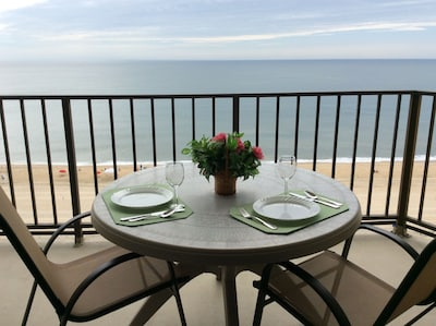 Enjoy a lovely meal overlooking the ocean.
