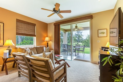"Living Room has 2 fusion sofa, 2 individual chairs, 50"" TV,  & Bluray Player."