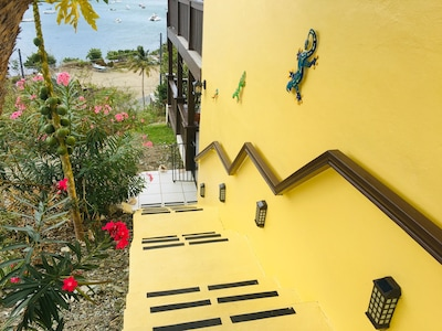Your Private Staircase Down To Coral Bayside  Studio w/ Motion & Solar Lighting.