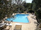 A relaxing and cool oasis amidst the olive trees and garden,
