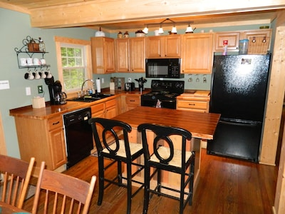 Open & Fully Equipped Kitchen with Owner Made Butcher Block Counters