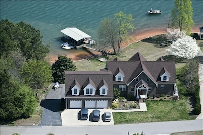 Aerial View of the house and dock.