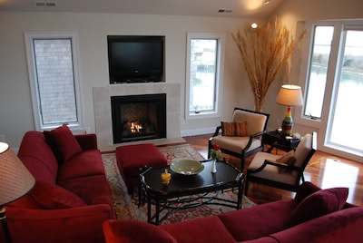 comfortable sitting area with cozy fireplace