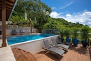The lower pool deck with privacy and lots of sun!