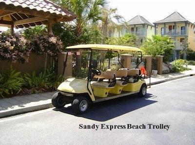Seasonal beach trolley.