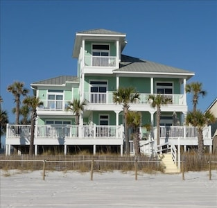 High Tide private beach house with 3,200 heated sq.ft. 5 bed rooms/optional 6BR, 4.5 baths, wrap around decks, private heated pool