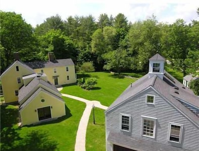 Looking at Arundel Farm from above with the Carriage House on the right.