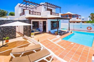 Villa  has South-Facing Private, Heated Pool with Roman Steps